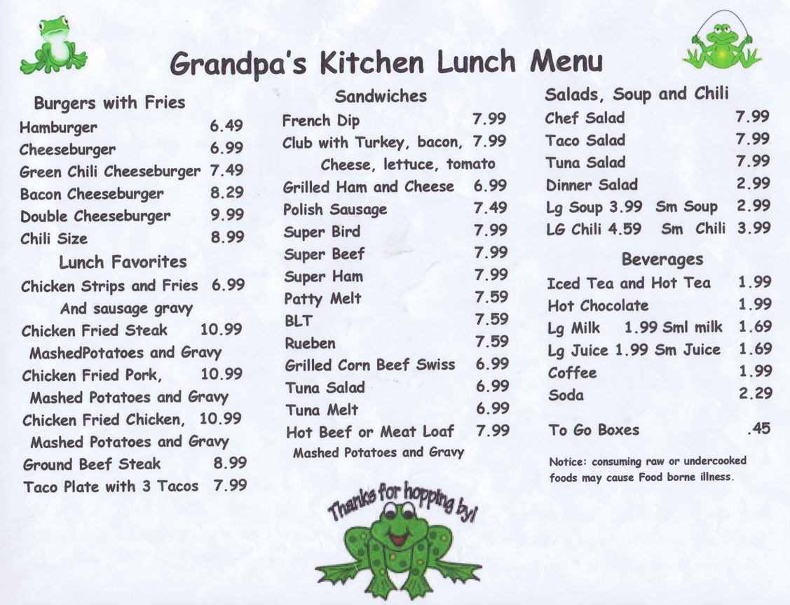 Soup Kitchen Menu Grandpas Kitchen Restaurants Kingman Businesses Kingman