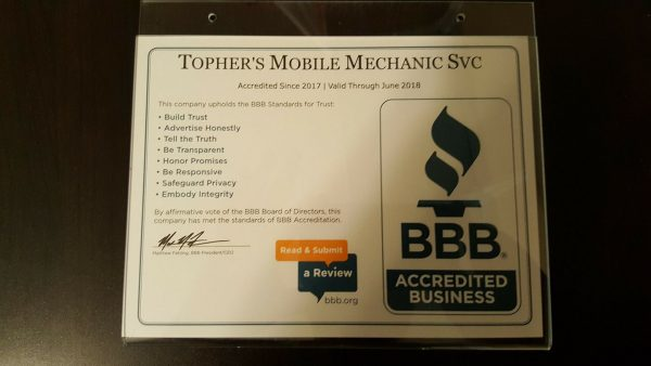 Topher's Mobile Mechanic Service, The Mark of Excellence